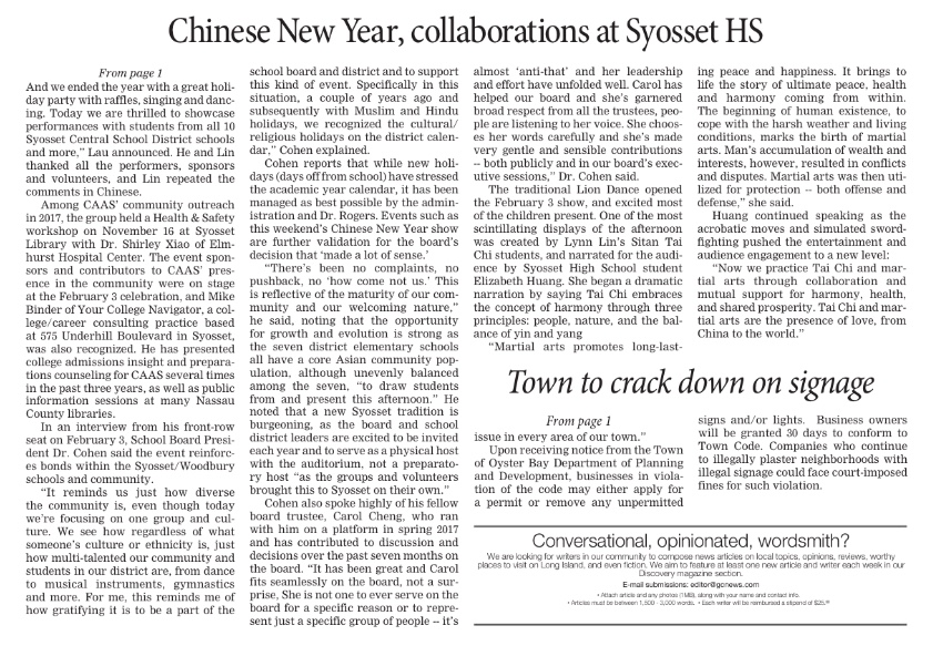 Syosset Advance CNY article 2nd pg